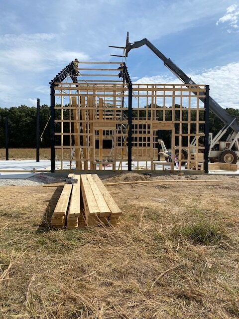 Constructing the trusses and purlins