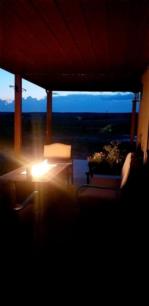Beautiful Wyoming Barndominum for Horse Lovers by the Timothy Family built in tabletop firepit