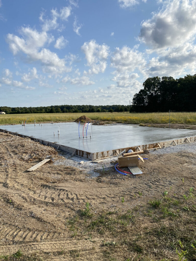 Slab foundation just minutes after it was poured.
