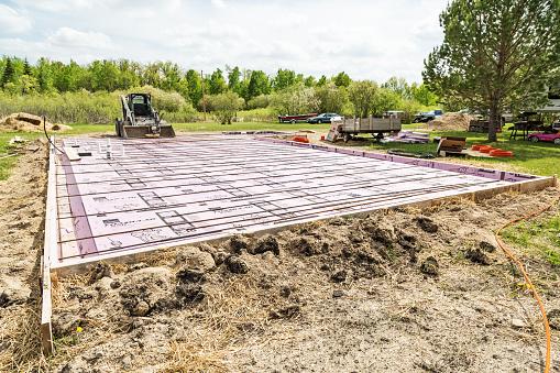 Concrete slab construction with styrofoam insulation