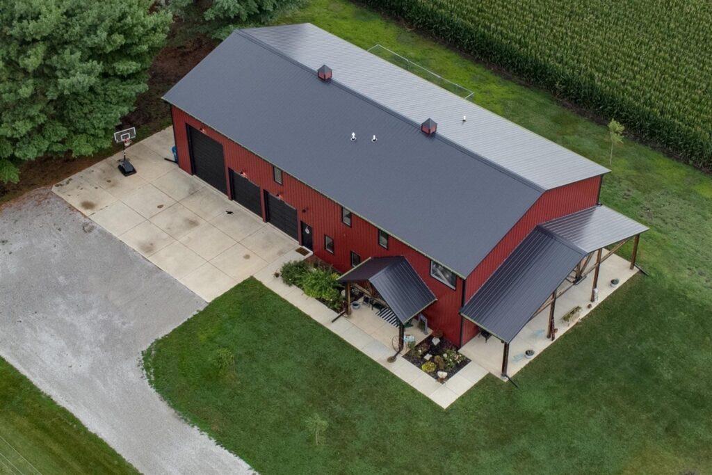 Illinois Barndominium Aerial View
