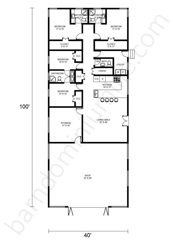 40x100 barndominium floor plan